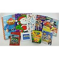 キッズクリスマスバンドル| 9 Items : 1 Rudolph、1サンタWishesカラーリングBook , Rudolph Playパック、ミッキーマウスアクティビティパッド、クリスマスステッカー、2 Disney Cars &トイストーリーステッカー、MMバッジ、クレヨン