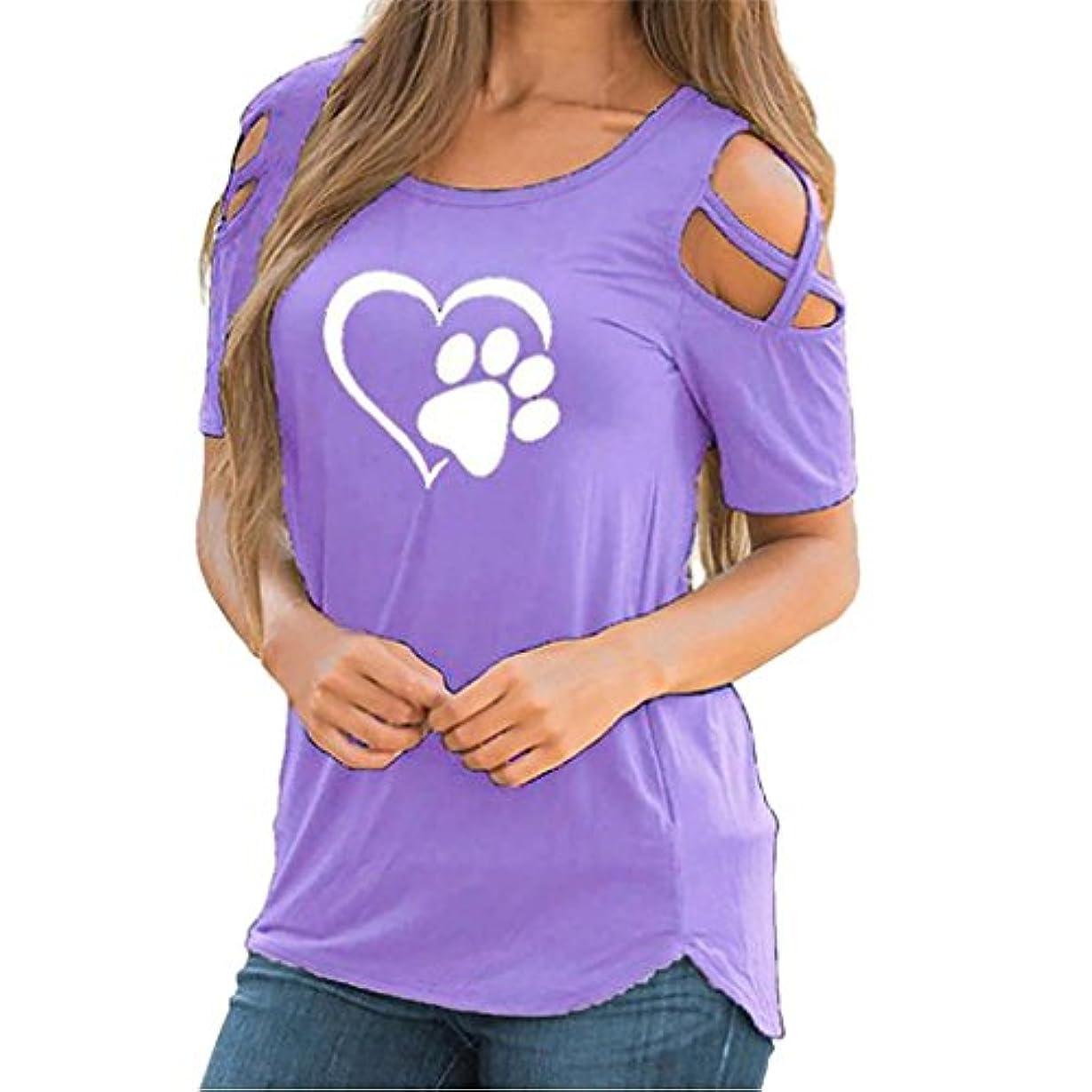 コンパイルチョコレート黙SakuraBest 女性 オフショルダー半袖プリント大サイズTシャツ