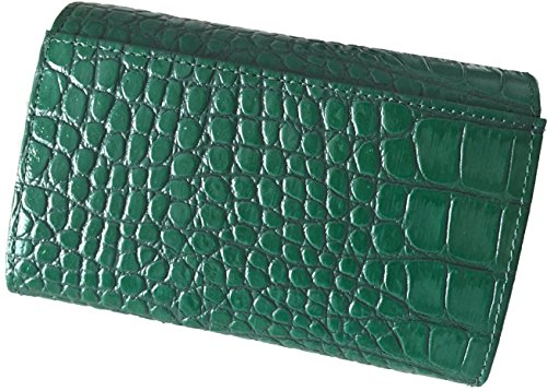 ロベルタ ディ カメリーノ ROBERTA DI CAMERINO クロコダイル型押し レザー二つ折り財布 レディース (専用箱なし)