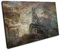 大胆なブロックデザイン - パリ市コラージュ幾何学模様抽象画 シングルキャンバスアートプリントボックス 額入りピクチャーウォールハンギング - 英国製 - 額入りですぐに掛けられる RC-6108(00B)-SG32-LO (E) 120x80cm RC-6108(00B)-SG32-LO-E