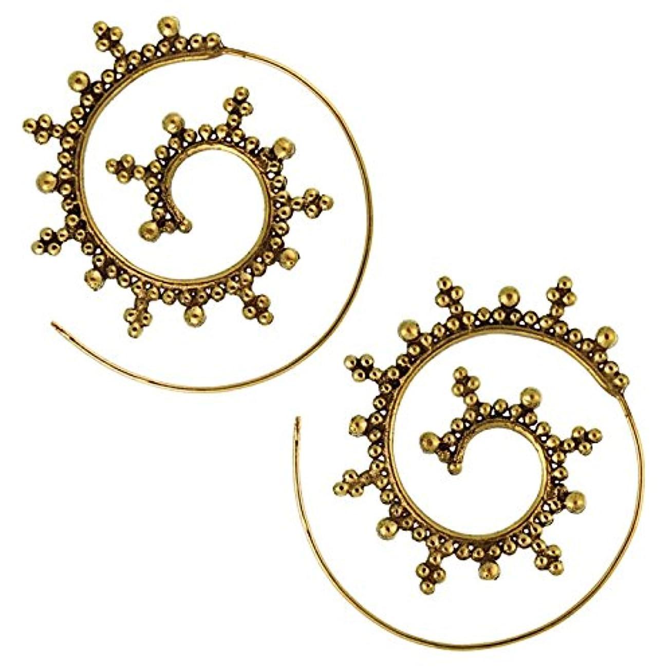 ためらうバンド医学SpiralsイヤリングボールCrosses真鍮真鍮アンティークGolden nickelfreiピアストライバル