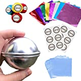 Bath Bomb Mold Large Size Set 58 pcs with 2.6 inches 6 Set 12 Pcs DIY Metal Homemade Round Sphere Molds Shrink Wrap Bags, Hand Made Stickers, Tin foil by LTLR Color 1