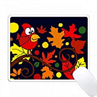 赤い枢機卿の鳥と秋の抽象的なアート PC Mouse Pad パソコン マウスパッド