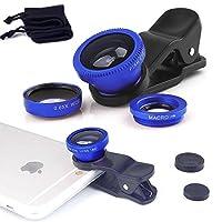 ONX3 Huawei Honor 5c (Blue) 携帯電話ユニバーサルカメラレンズ3 in 1キット広角レンズ+魚眼レンズ+マクロレンズ(クリップオン180度、AndroidおよびiOS機器用)