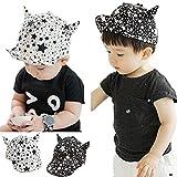 Amazon.co.jpMMODA(エムモーダ) ベビー 春 夏 角付き キャップ 野球帽 ユニーク 面白い 星模様 6か月 ~ 2歳 (ブラック)