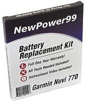 バッテリー交換キットfor Garmin Nuvi 770withインストールビデオ、ツール、Extended Life Battery。
