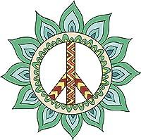 "Cute Pretty Mandala Flower Peace Sign–Tealビニールデカールステッカー 8"" Wide 657914106"