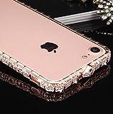 apple iPhone 8 アルミバンパー ケース ラインストーン キラキラ エレガント かわいい おしゃれ 金属アルミ アイフォン8 デコレーション サイドバンパー アップル おすすめ おしゃれ スマホケース 良品IT (ローズゴールド)