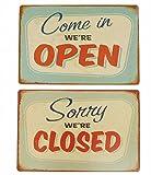 【Rurumiインテリア】オープン クローズ サインプレート セット アメリカン ビンテージ風 レトロ ブリキ看板 メタルプレート カフェ 等に 屋内 用 (A)