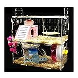 [AMANGU]ハムスターケージ ハムスター専用 かわいい ケージ 透明 アクリル加工 食器 給水ボトル ブランコ かわいい ホイール 2階 サイズ30*20*30cm