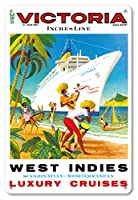 22cm x 30cmヴィンテージハワイアンティンサイン - 西インド諸島、スカンジナビア料理、地中海料理 - Incresラインラグジュアリークルーズ - MSビクトリアクルーズ船 - ビンテージな遠洋定期船のポスター c.1971