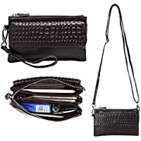 Womens Genuine Leather Wristlet Purse Cross Body Phone Wallet Handbag