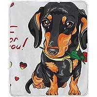 AOMOKI 毛布 シングル マイクロファイバー ひざ掛け 冷房/防寒対策 2枚合わせ 洗える 暖かい 保温 130x150cm 犬柄 薔薇柄