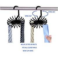 (Black) - HCYLIVE 2 Pack 360 Degree Rotating Holds Twirl Tie Racks Adjustable Tie Belt Scarf Hanger Holder Hook Securely up to 20 Ties Holder Hook Ties Scarf for Black Closet Organiser Storage