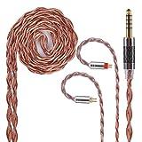 YYX4765 2pin ケーブル 2pin 4.4mm 金銀合金&OFC ケーブル 2pin リケーブル 2pin 4.4mm バランスケーブル 2pin アップグレード 4.4mm 5極 ケーブル 2pin 着脱式 ケーブル 2pin KZ ZST ZS10 ZSR ZS6 ES3 TRN V10 V20 TFZ EXCLUSIVE EXCLUSIVE KING SIMGOT EN700 等に対応 (2pin・4.4mmプラグ)