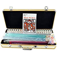 [Mstechcorp]Mstechcorp American Mahjong Mah jong 166 Tiles Set w/ Racks Brief Case 4 Color Pushers/Racks Western Mahjongg Gold [並行輸入品]