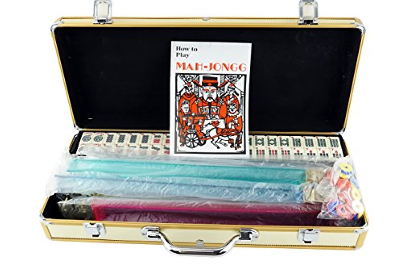 [Mstechcorp]Mstechcorp American Mahjong Mah jong 166 Tiles Set w/ Racks Brief Case 4 Color Pushers/Racks Western Mahjongg Gold [並行輸入品]