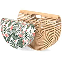 Bamboo Handbag - Womens Basket Bag with Purse Insert - Handmade Summer Tote
