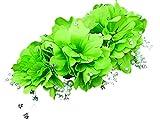 【ROOM28】 ワイヤー 入り 立体 花 パール ラインストーン 髪飾り ハード 収納 ケース 付き 着物 ドレス どちらでも 使える コサージュ パステル カラー ヘッドドレス かんざし ヘアーアクセサリー (緑)