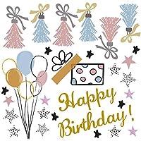 誕生日☆シール式ウォールステッカー 誕生日 birthday 飾り 90×90cm ケーキ ガーランド バースデーパーティ飾り 風船 バルーン 壁紙 お祝い タッセルガーランド 風船 星 016998