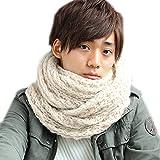 メンズストール専門店MORE Style #19-ベージュ-ホワイトMIX#ふわふわ編みスヌード /ストール/メンズ/ネックウォーマー