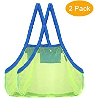 (Green) - 2 Pack Mesh Beach Bag Tote (XL Size) - Sand Beach Toy Bag Away from Sand or Water for Holding Toys & Swimming Equipment -
