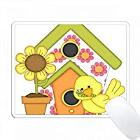 かわいい花の鳥の家と鳥と花 PC Mouse Pad パソコン マウスパッド