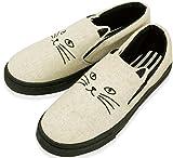 コンバース スニーカー 猫 かわいい キャット スリッポン スニーカー レディース ホワイト L 24~25cm 81822