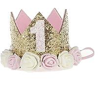 プリンセスクラウン 綺麗 可愛い バースデークラウン  半歳 1歳 一歳半 二歳 三歳 シール付け ハーフバースデー ハッピーバースデイー 小さい王女 誕生日のプレゼント 出産の祝い 100日祝い ゴムバンド 撮影 記念写真 1ゴールドxピンクフラワー