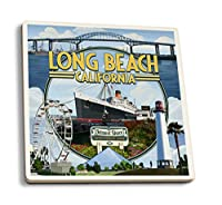 ロングビーチ、カリフォルニア–モンタージュ3 4 Coaster Set LANT-44994-CT