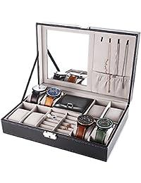 WELQUIC 腕時計 ケース 腕時計収納ケース 8本用 小物いれ アクセサリ コレクションケース 鏡 鍵付き ジュエリーボックス