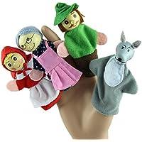 ハロウィーン 赤ずきん 4個 指人形 赤 赤ちゃん教育玩具 A ブラック aaa