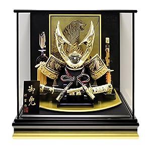 五月人形 兜ケース飾り ゴールドハヤブサ兜 間口48.5×奥行33×高さ47.5cm 黒塗ガラスケース G2701Z