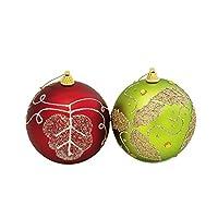 フローレックス(FLOREX) クリスマスデコレーション オーナメント リーフレッド/グリーンボール 径10cm XO-1812