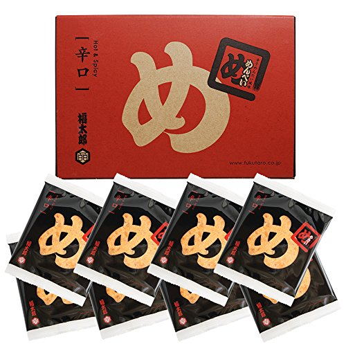 博多土産 めんべい (辛子めんたい風味せんべい) 辛口 8袋(16枚) 入り 専用紙袋付き