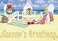18クリスマスカードと封筒、休日ビーチ椅子