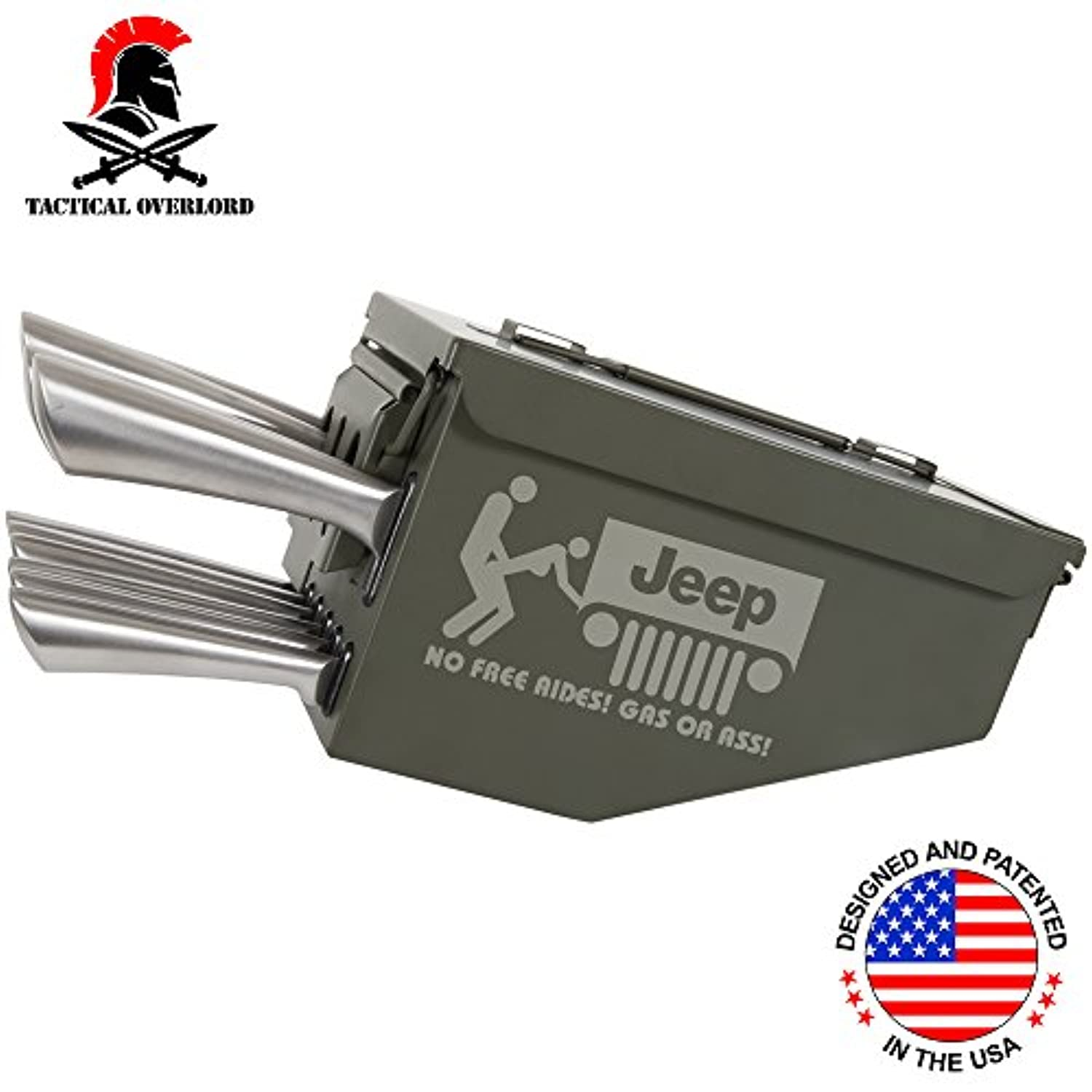 Tactical Overlordジープno free rides Engraved 10 Piece Ammo CanボックスナイフブロックCulteryセットユーティリティストレージオーガナイザー