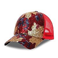 キャップ 女性のメッシュグレースパンコール帽子カジュアル春と夏の屋外バイザー (色 : 赤)