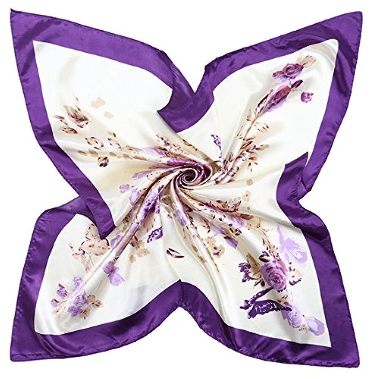 タービンかろうじてケーキCATYAA 90 * 90CM女性の女性のためのスカーフ女性の女性のプリントシルクスカーフシルクサテンのスカーフ (Color : Voilet, サイズ : 90 * 90cm)