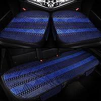 カーシートカバー、ユニバーサルアイスシルククッション通気性パッドカーインテリア3パックフロントリアキット。 (色 : 青)