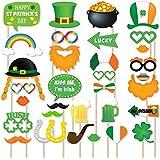 聖パトリックの日写真ブース小道具 – Fun Small自撮り写真の撮影変装、アイルランドパーティーDecoration Supplies with Shamrock帽子ひげ、DIY Crafts子供誕生日ギフトベビーシャワー写真