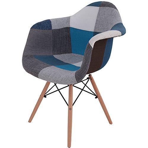 椅子 イームズチェア デザイナーズ リプロダクト パッチワークブルー DN1002D