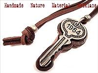 ダークブラウンレザー & メタル 鍵 キー ロング ネックレス チョーカー 4-5490-3