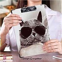 クリップボード A4サイズ対応 レンジップボード 事務用品の文房具サングラスで面白いイギリス灰色猫 (1個)