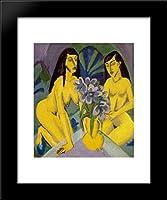 2つイエローノットwith Bunch of Flowers 20x 24額入りアートプリントby Ernst Ludwig Kirchner