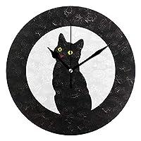 黒猫 月 動物柄 アニマル 黒 ブラック 壁掛け時計 縮尺なし PUV時計 台所およびその他の多くの機会に適しています