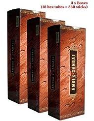 Hem Amber Y Sandalo Incense、3ボックス – (360 Sticksバルクper order)