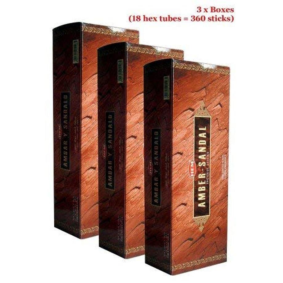 政治的素子息子Hem Amber Y Sandalo Incense、3ボックス – (360 Sticksバルクper order)