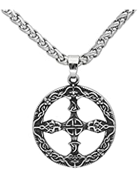 GuoShuang Men Amulet Slavic 316 L Stainless Steel Pendant Necklace -with Gift Bag