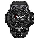 腕時計 メンズ SMAEL腕時計 メンズウォッチ 防水 スポーツウォッチ アナログ表示 デジタル クオーツ腕時計  多機能 ミリタリー ライト時計 運動腕時計 (ブラック)